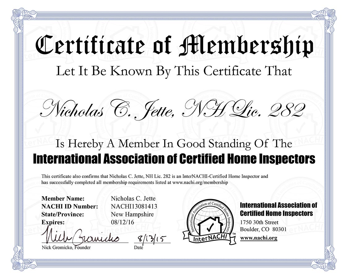 Certifications - Premier Home Inspection Services, LLC
